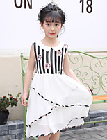 cheap -Girl's Daily Holiday Striped Geometric Anime Dress,Polyester Summer Sleeveless Cute Cartoon Princess White