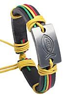 Homme Bracelet Classique Rétro Cuir Alliage Forme de Cercle Bijoux Pour Rendez-vous
