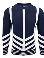 cheap -Men's Sports Going out Long Pullover,Print Round Neck Long Sleeves Polyester Fall Winter Medium Micro-elastic