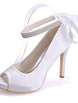 preiswerte -Damen Schuhe Satin Frühling Sommer Pumps Hochzeit Schuhe Stöckelabsatz Peep Toe Band-Bindung für Hochzeit Party & Festivität Silber Rot