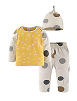 cheap -Baby Unisex Daily Going out Polka Dot Clothing Set,Cotton All Seasons Simple Casual Long Sleeve Yellow