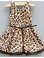 Girl's Holiday Casual/Daily Polka Dot Leopard Dress,Polyester Fall Sleeveless Simple Khaki