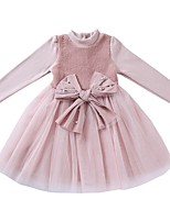 Girl's Casual/Daily Solid Dress,Polyester Winter Fall Long Sleeves Simple Red Blushing Pink