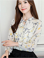 Недорогие -Для женщин На каждый день Офис Все сезоны Блуза V-образный вырез,Уличный стиль Цветочный принт С принтом Длинные рукава,Полиэстер