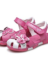 cheap -Girls' Shoes Leather Summer Comfort First Walkers Sandals Rhinestone Bowknot Ruched for Casual Dress Peach