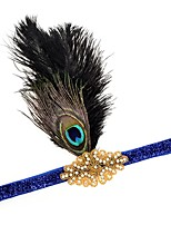 cheap -The Great Gatsby Flapper Headband 1920s Black White Blue Golden Feather Cosplay Accessories Masquerade