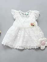 Robe Fille de Décontracté / Quotidien Couleur Pleine Polyester Printemps Eté Sans Manches simple Blanc Rose Claire