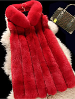 cheap -Women's Daily Casual Winter Fall Fur Coat,Solid Hooded Sleeveless Long Fox Fur