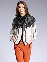 cheap -SHE IN SUN Women's Daily Going out Casual Fall ShirtFloral Color Block Standing Collar Long Sleeve Polyester Opaque
