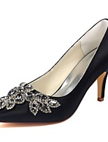 cheap -Women's Shoes Stretch Satin Spring Fall Comfort Wedding Shoes Stiletto Heel Pointed Toe Crystal for Party & Evening Dress Black