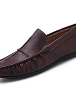 cheap -Men's Shoes PU Spring Fall Moccasin Loafers & Slip-Ons for Casual Khaki Brown Black