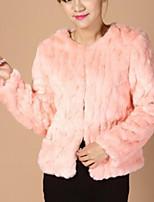 Недорогие -Жен. На выход На каждый день Зима Осень Пальто с мехом Круглый вырез,Уличный стиль Однотонный Обычная Длинные рукава,Искусственный мех,