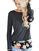 cheap -Women's Daily Casual Fall T-shirt,Solid Round Neck Long Sleeve Polyester Medium