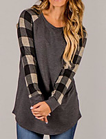 cheap -Women's Going out Active Street chic T-shirt,Print Plaid Round Neck Long Sleeve Cotton Nylon