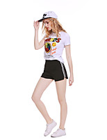 cheap -Women's Holiday Going out Cute Active T-shirt,Solid Print Letter Round Neck Short Sleeve Cotton Medium