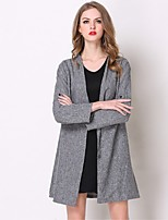 cheap -Women's Daily Casual Winter Fall Trench Coat,Solid V Neck Long Sleeve Regular Polyester