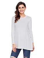 cheap -Women's Daily Holiday Street chic Winter T-shirt,Solid Round Neck Long Sleeve Polyester Spandex Medium