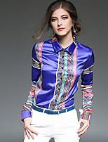 Camicia Da donna Quotidiano sofisticato Per tutte le stagioni,Con stampe Colletto Poliestere Maniche lunghe