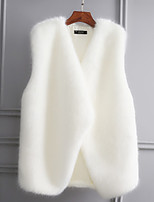 cheap -Women's Party/Cocktail Going out Vintage Active Winter Fall Vest,Solid Color Block Stand Sleeveless Regular Faux Fur