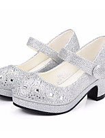 cheap -Girls' Shoes Microfibre Spring Fall Tiny Heels for Teens Heels Magic Tape for Casual Silver Gold