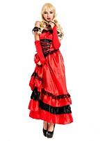 abordables -Amaloli Vintage Medieval Mujer Una Sola Pieza Vestidos Cosplay Rojo Camisola Sin Mangas Hasta el Tobillo