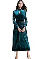 cheap -SHE IN SUN Women's Going out Vintage Casual A Line DressSolid Stand Maxi Long Sleeve Polyester Fall Mid Rise Inelastic Opaque