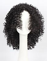 Femme Perruque Synthétique Court Très Frisé Noir Naturel Partie latérale Perruque afro-américaine Avec Frange Perruque de Cosplay