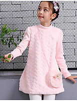 cheap -Girl's Daily Going out Solid Floral Dress,Rabbit Fur Cotton Polyester Winter Fall Long Sleeves Cute Active Princess Blushing Pink