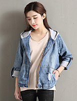 cheap -Women's Daily Vintage All Season Denim Jacket,Solid Round Neck Short Sleeve Regular Cotton Acrylic Pleated