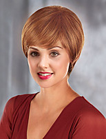 Недорогие -жен. Человеческие волосы без парики Medium Auburn Короткий Прямой силуэт С чёлкой Боковая часть