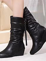 Недорогие -Для женщин Обувь Полиуретан Зима Осень Удобная обувь Зимние сапоги Ботинки Туфли на танкетке Сапоги до середины икры для Повседневные