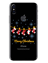 baratos -Capinha Para Apple iPhone X / iPhone 8 Transparente / Estampada Capa traseira Natal Macia TPU para iPhone X / iPhone 8 Plus / iPhone 8