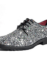 cheap -Men's Shoes Glitter Winter Fall Formal Shoes Oxfords for Casual Party & Evening Silver Black