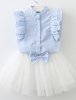 cheap -Girls' Daily Holiday Solid Striped Floral Clothing Set,Cotton Spring Summer Short Sleeve Cute Active Blue Blushing Pink