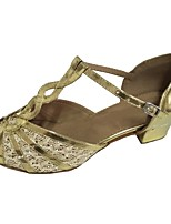 cheap -Women's Latin Satin Sandal Indoor Customized Heel Gold / Customizable