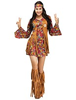 cheap -Vintage Hippie 1970s Costume Women's Party Costume Coffee Vintage Cosplay Polyester Long Sleeves Bell Short / Mini