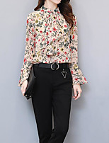 cheap -Women's Going out Vintage Fall Blouse,Print Round Neck Long Sleeve Cotton Opaque