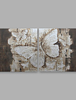 cheap -Hand-Painted Floral/Botanical Square,Modern Canvas Oil Painting Home Decoration Two Panels