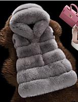 cheap -Women's Daily Casual Winter Fall Fur Coat,Solid V Neck Sleeveless Regular Fox Fur