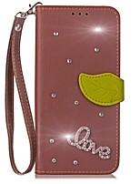 baratos -Capinha Para LG G2 LG G3 LG LG G5 LG G4 G6 Porta-Cartão Carteira Com Strass Com Suporte Flip Capa Proteção Completa Côr Sólida Rígida PU