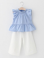 cheap -Girls' Daily Going out Solid Clothing Set,Cotton Summer Sleeveless Cute Casual Active Blue