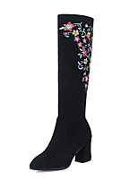 cheap -Women's Shoes Nubuck leather Winter Fall Fashion Boots Boots Chunky Heel Pointed Toe Knee High Boots Mid-Calf Boots Satin Flower for