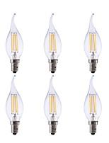cheap -6pcs 3.5W 350lm E12 LED Filament Bulbs CA10 4 LEDs COB Dimmable Decorative LED Lights Warm White 2700K AC 110-130V