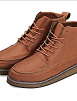 cheap -Men's Shoes PU Winter Spring Fashion Boots Combat Boots Oxfords Booties/Ankle Boots for Casual Office & Career Brown Gray Black