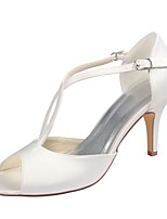 economico -Da donna Scarpe Raso elasticizzato Estate Decolleté scarpe da sposa A stiletto Punta aperta Perle Fibbia per Formale Serata e festa Avorio