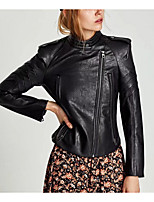 cheap -Women's Casual/Daily Simple Spring Fall Leather Jacket,Solid Shirt Collar Long Sleeve Regular Polyester