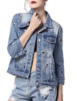 economico -Giacca di jeans Da donna Quotidiano Casual Primavera Autunno,Tinta unita Colletto Altro Standard Maniche lunghe