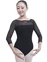 cheap -Ballet Leotards Women's Performance Cotton Split Joint 3/4 Length Sleeve Natural Leotard