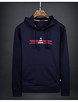 cheap -Men's Petite Casual/Daily Simple Hoodie Print Hooded Without Lining Micro-elastic Cotton Polyester Long Sleeve Winter Fall