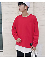 cheap -Men's Petite Casual/Daily Simple Sweatshirt Solid Round Neck Without Lining Micro-elastic Polyester Long Sleeve Fall